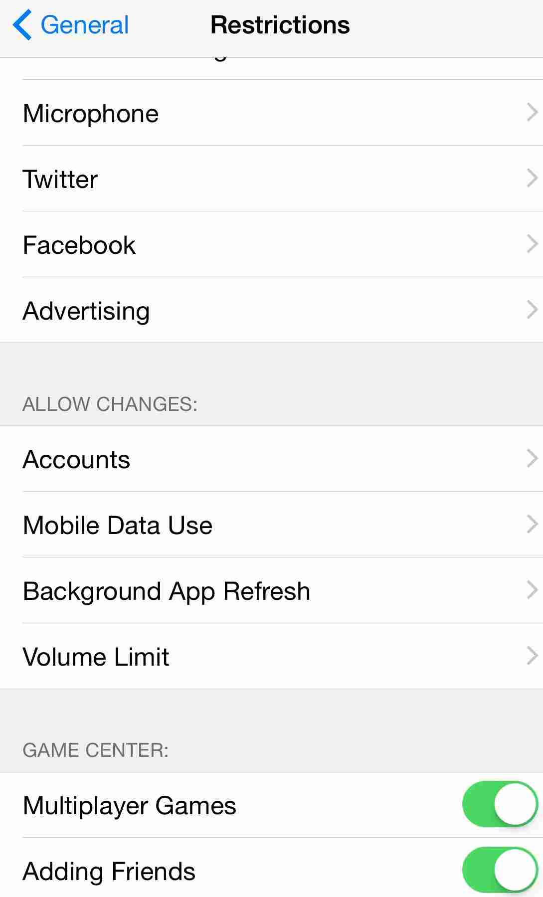 Restrict or Block adding friends and Multiplayer games in game Center using Parental controls